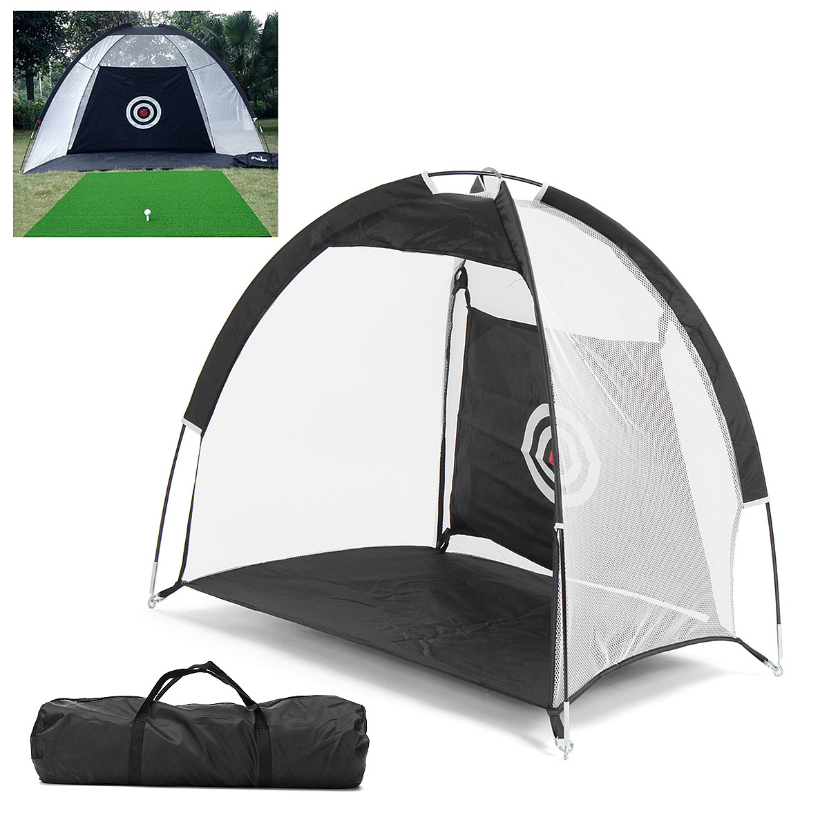 Golf Hitting Cage Practice Net Trainer 3m/1m Foldable Black 210D Encryption Oxford Cloth+Polyester Durable sturdy construction