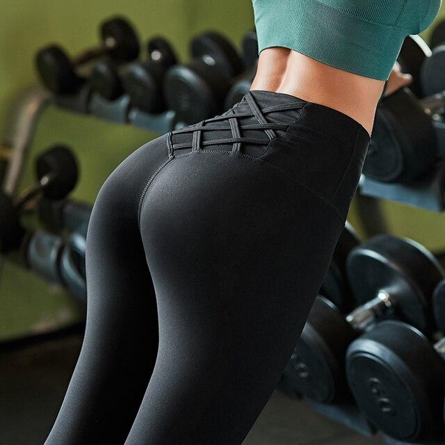 גבוהה מותן בטן בקרת גרביונים Leggins נשים חלקה ספורט חותלות כושר ספורט אישה כושר יוגה מכנסיים ספורט ללבוש