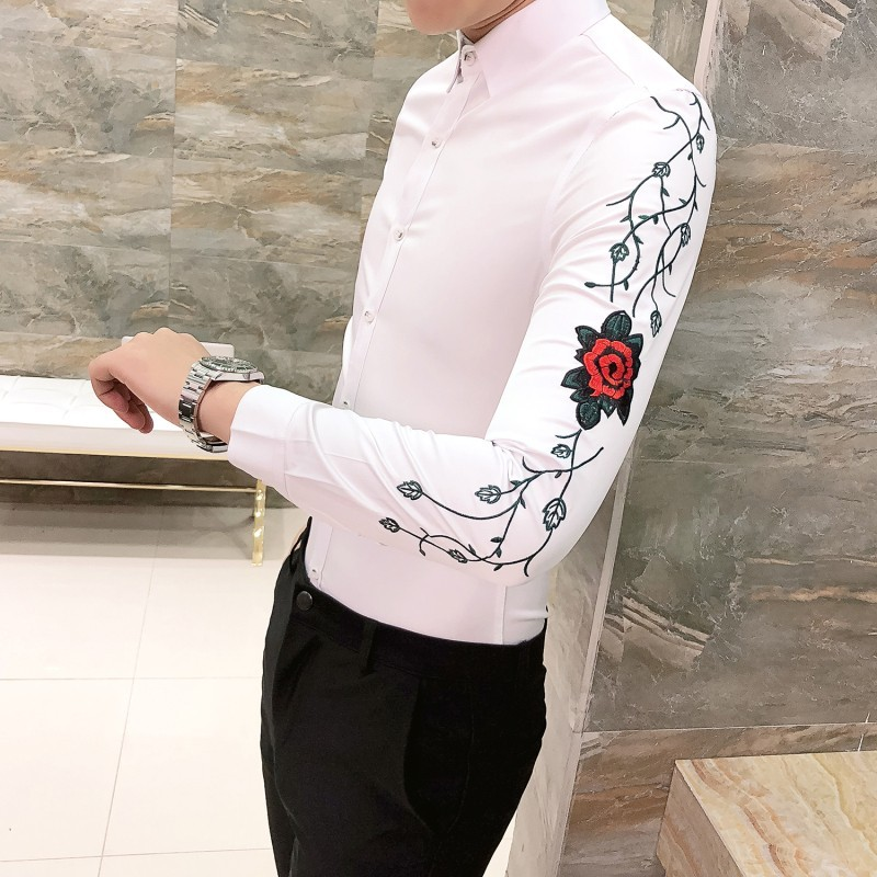 Floral Embroidery Shirt Camisa Hombre Clothing Men Club Party Wedding Shirt Men Chemise Homme  Camisa Masculina Men Long Sleeve