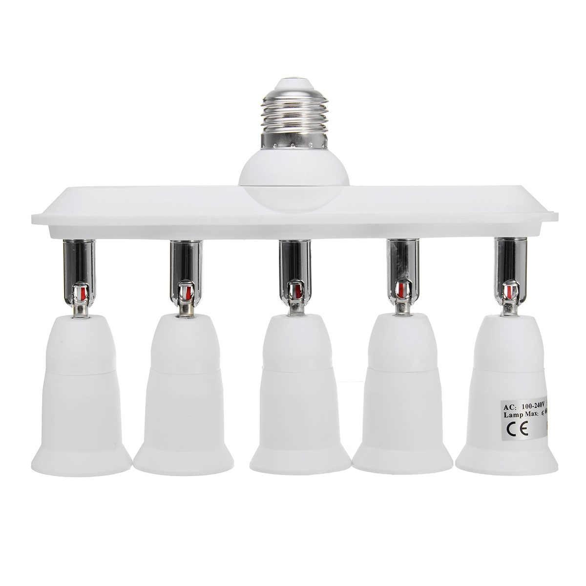 CLAITE E27 to 5 E27 360° Adjustable Lampholder Bulb Socket Adapter Splitter AC110-230V Lamp Base New