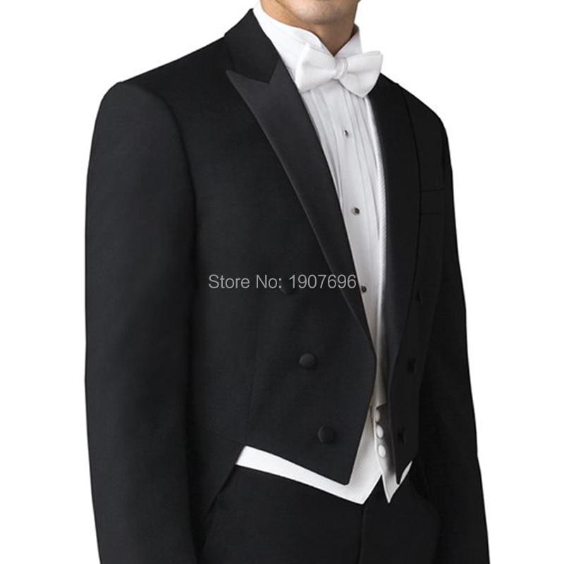 Erkek Kıyafeti'ten Ismarlama Takım Elbise'de Özel Yapılmış Düğün Adam Kuyruk Ceket Damat Takım Elbise Kruvaze 3 Parça Set Siyah Ceket Pantolon Beyaz Yelek balo Parti Sahne'da  Grup 3