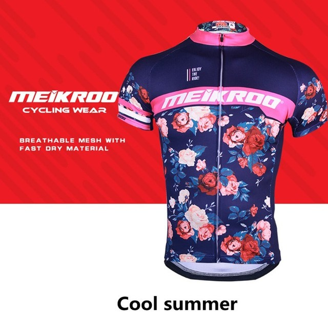 Cycling Jersey Short Sleeved Vintage Rose Print Bike Summer T-shirt Top Bicycle  Mtb Clothes Jacket Woman Outdoor Hiking Clothing 7263cf0a5