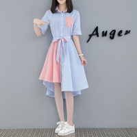 2019 Summer Women Dress Stripe Dresses Cover Belly Big Yards Dress Plus Size L 4XL Casual Girl Clothes Print Student Clothing