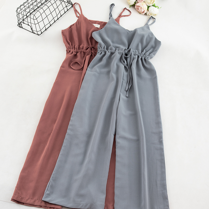 Camisole Chiffon   Jumpsuit   Women Solid Casual Vest Drastring Wide Leg Pants Camis Overall Women Elegant Blue Playsuit