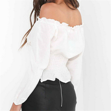 Fashion Women Blouse Sexy Off Shoulder Blouses Long Sleeve Lace Up Bandage Tops Casual Ruffles Shirts Clothes