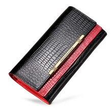 Купить с кэшбэком New Fashion Alligator Genuine Leather Wallet Women Wallets Designers Brand Woman Purse Lady Fashion Clutch Womens Purses