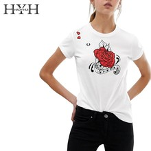 HYH Haoyihui Short Sleeve Tshirts Flower Printing Round Collar White Tops Free Shipping New Summer Short Sleeve T-shirt