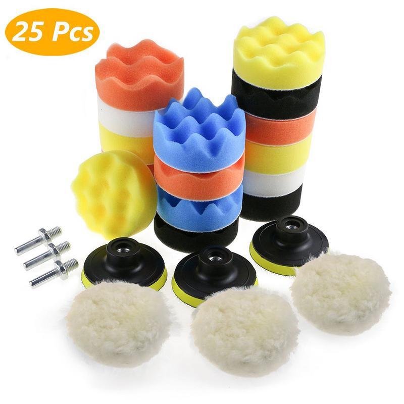 25PCS 3 Inch Car Polishing Sponge Kit Polishing Buffing Pads Woolen Waxing Pads Set For Polishing Machine Polisher Car Care