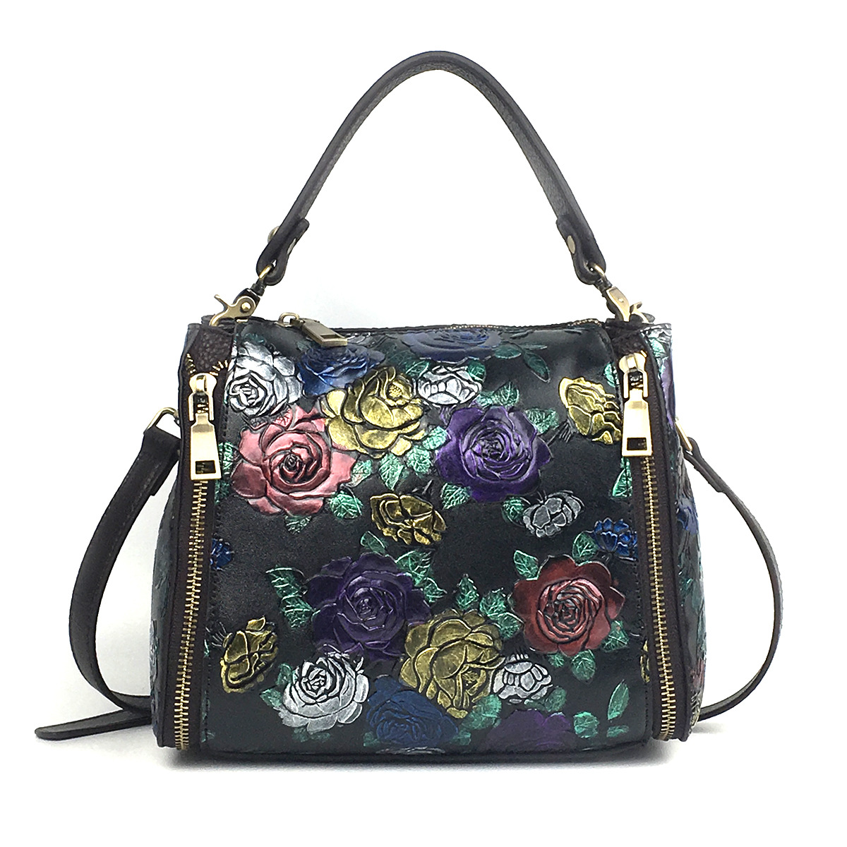 High Quality Genuine Leather Shoulder Top Handle Bags Luxury Floral Women Messenger Real Cowhide Cross Body