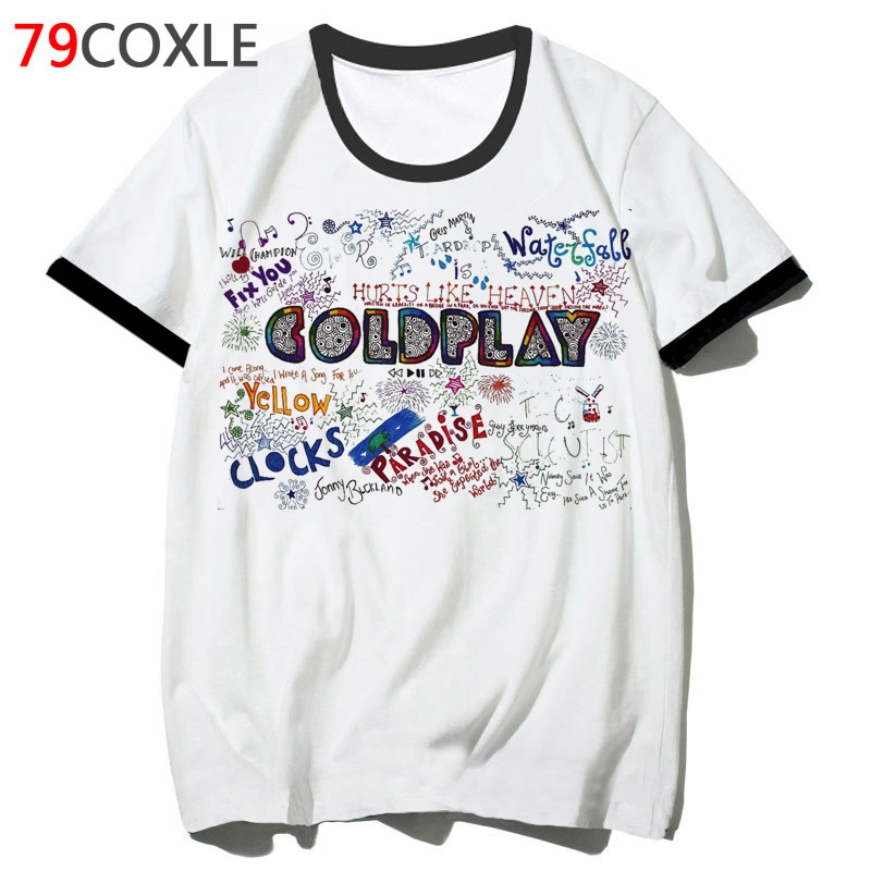 Coldplay T Shirt Male Clothing Hip 2019 T-shirt Streetwear Tee Top Hop Harajuku Men Tshirt For School Funny F2183