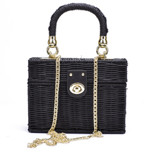 ab247859a92a New Black Straw Shoulder Bag Women Hand-Woven Messenger Bag Summer Beach  Square Box Straw