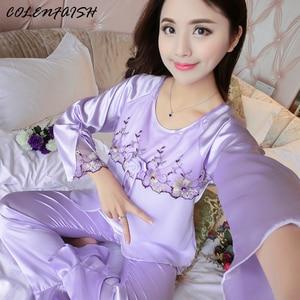 Image 1 - 새 실크 잠옷 여성 자수 레이스 홈 의류 코사지 잠옷 여성용 긴 소매 잠옷 홈 슈트 pijama mujer
