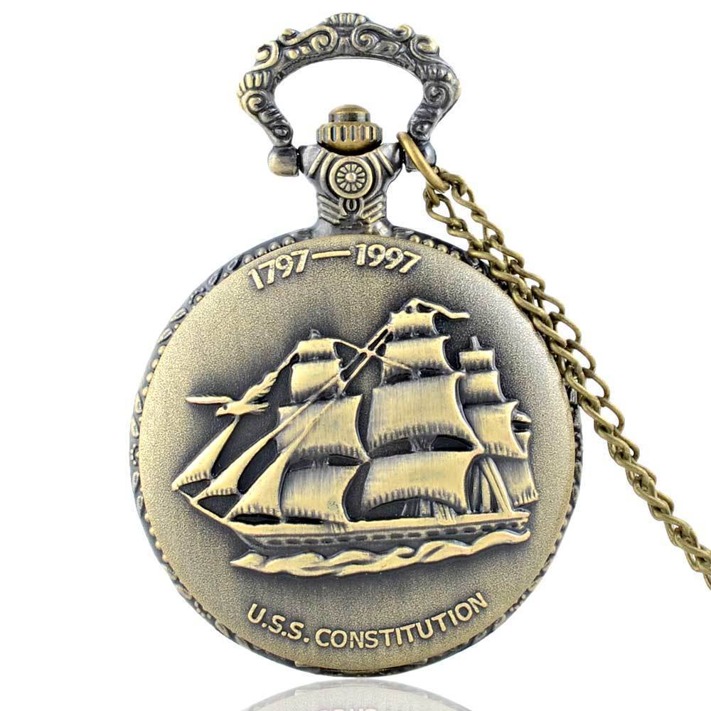 IBEINA Steampunk Full Hunter Quartz Engraved Fob Retro Pendant Pocket Watch Chain Gift USS Constitution Theme