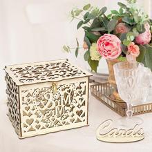 Деревянная Подарочная коробка для свадебных карт DIY, чехол для денег, держатель для карт на свадьбу, день рождения, вечерние принадлежности