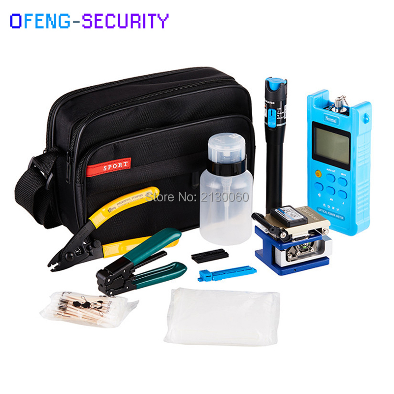 Fiber Optic FTTH Cold Joining Tool Kit With FC-6S Fiber Cleaver, Optical Power Meter 5km, Visual Fault Locator, Wire Stripper