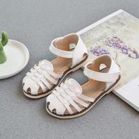 Girls Sandals 2019 Summer Children's Princess Soft Leather Sandals Children's Square Girls Flat Party Dress Soft Pink Shoes