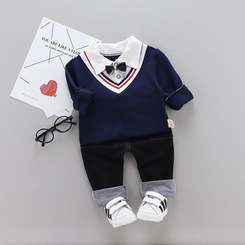 Boys' Clothing Spring Autumn Baby Boys Girls Clothes Infant Cotton Bow T Shirt Pants 2pcs/sets Kids Garment Children Fashion Casual Sport Suit Clothing Sets