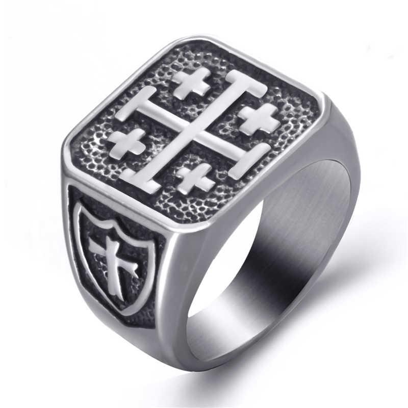الرجال الفولاذ المقاوم للصدأ خواتم الصليبية القدس الصليب الدين مجوهرات خمر