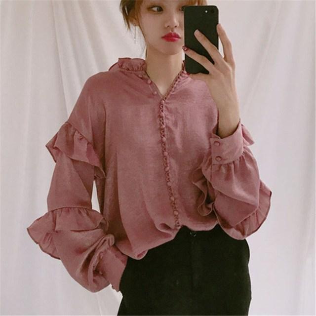 05e937fe8577 Primavera Do Vintage Chique Sólida Blusa Com Decote Em V Das Mulheres  Camisas de Manga Longa Botão Doce Solto Top Feminina