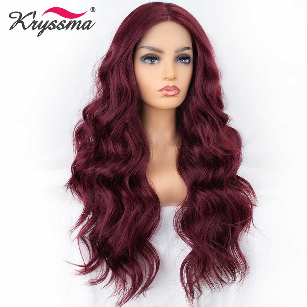 Длинные Бордовые волнистые синтетические парики на шнурках спереди красные винные парики для женщин левая часть швейцарское кружево натуральные волосы термостойкий парик