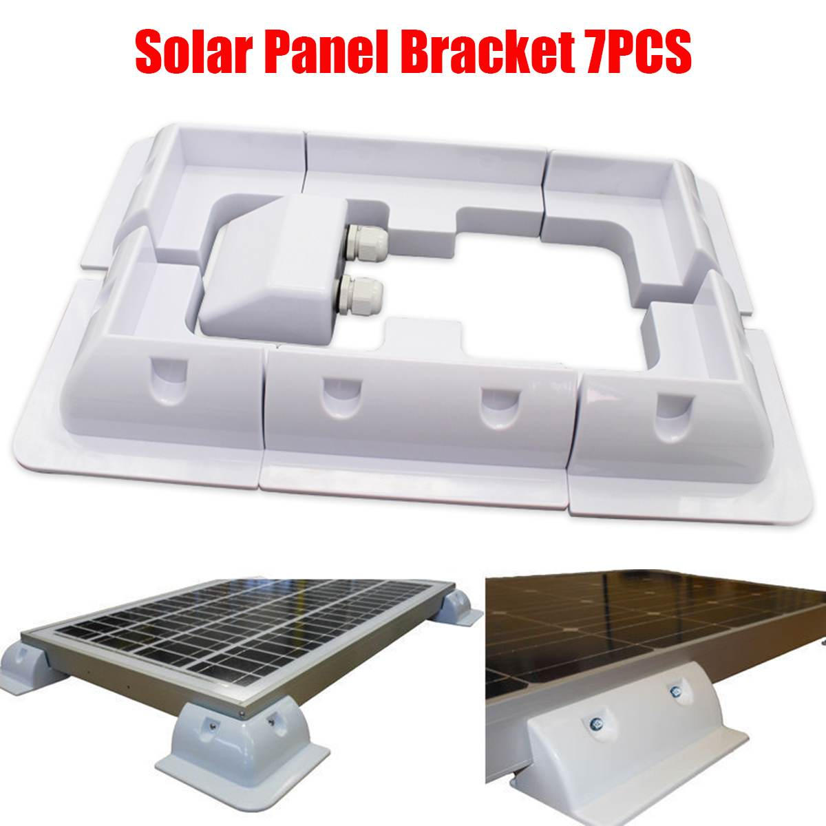 7pcs/set White ABS Solar Panel Mounting Bracket Kits Cable Entry Gand Ideal for Caravan Motorhome RV Boat Vehicle Roof Mount