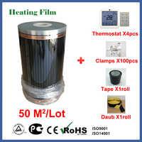 Fernen Infrarot boden heizung film 50 quadratmetern, 220 V elektrische heizung boden film mit thermostat und zubehör