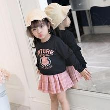 Baby girls clothes kids 2019 fashion suit wear long-sleeved printed tops plaid skirt 2-piece