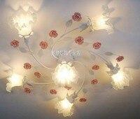 В европейском стиле сад для гостиной Романтический рестораны белое Кованое железо розовый керамический цветы Стекло абажур потолочный све