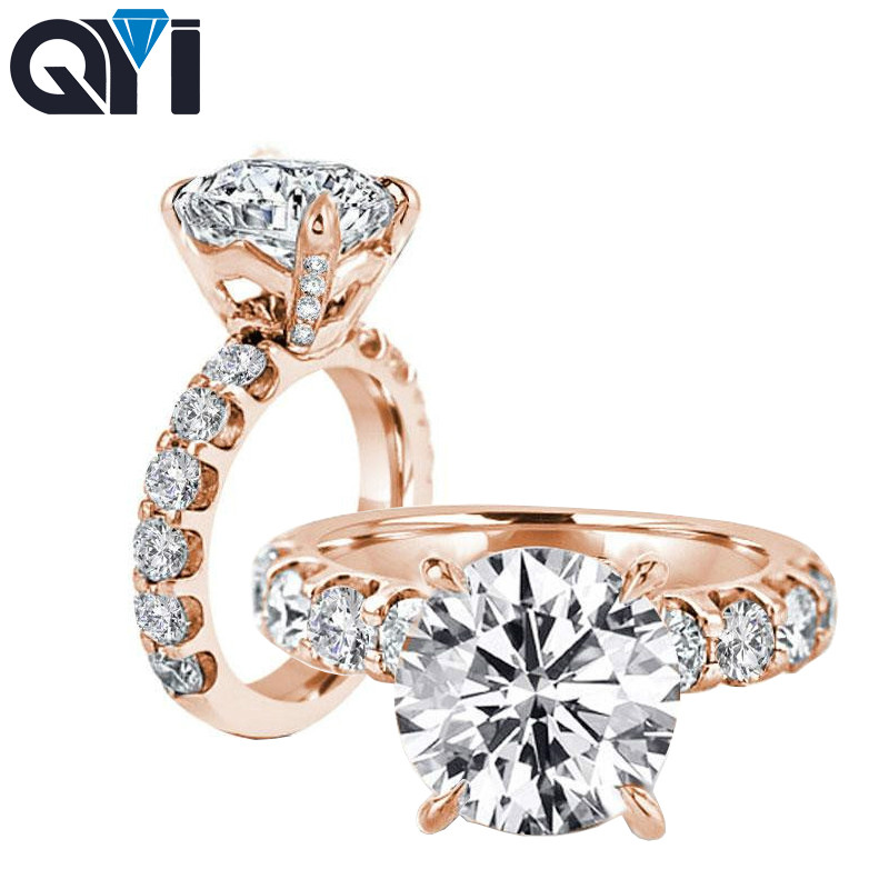 QYI Engagement Rings 925 Sterling Silver 3ct Round Cut Sparkling Zirconia Wedding Jewelry Luxury Pave Single Row Ring For Women