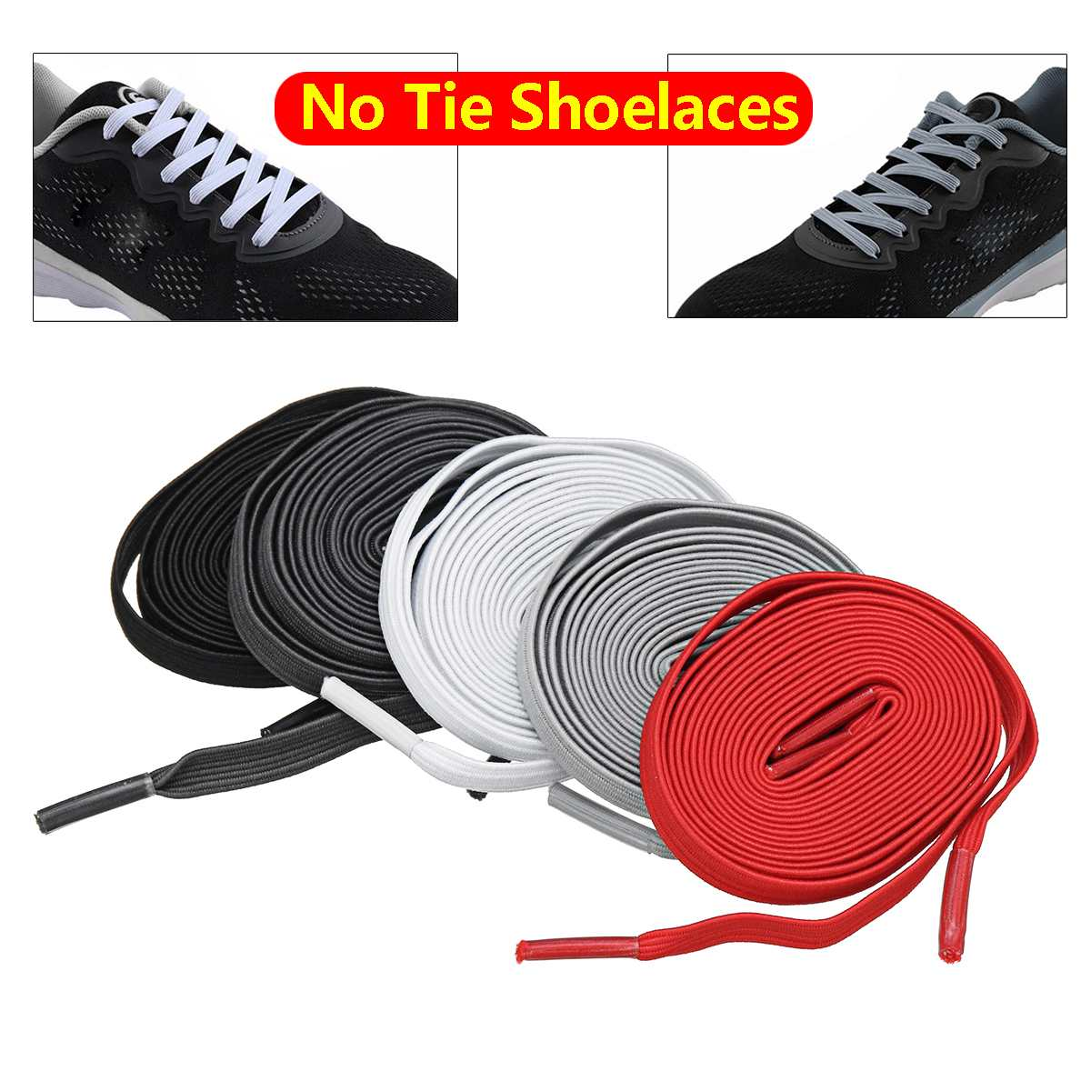 100cm Unisex Adults Kids Elastic Lazy Shoe Laces Sport Sneaker Polyester No Tie Shoelaces Black White Dark Grey Light Grey Red100cm Unisex Adults Kids Elastic Lazy Shoe Laces Sport Sneaker Polyester No Tie Shoelaces Black White Dark Grey Light Grey Red