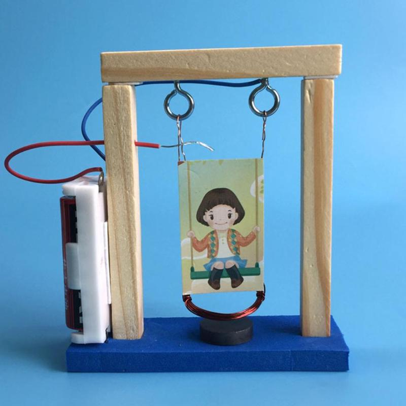 Creative  Wood Electromagnetic Science Swing Set Experiment Toys DIY Handmade Invention Assemble Toys  Educational Toy