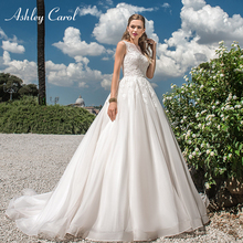 Ashley Carol A-Line Wedding Dress Sleeveless Sweep Train