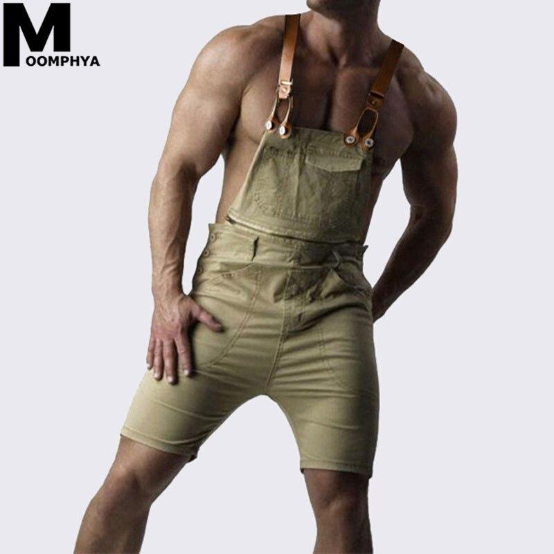Moomphya 2019 New Arrived Streetwear short men Overalls   Jeans   kangaroo pocket   jeans   men romper pants hip hop