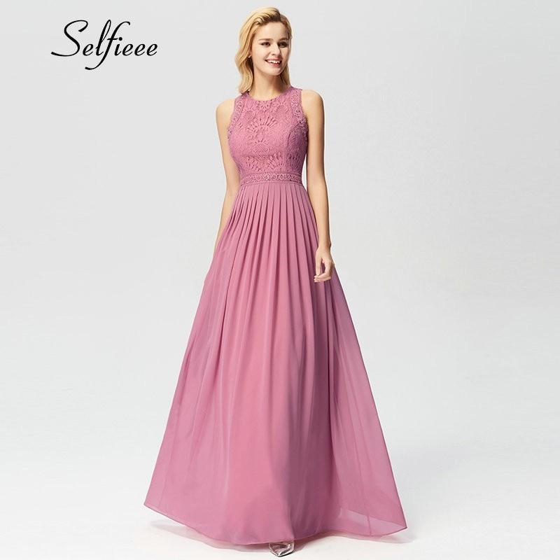 New Woman Dress Elegant Evening Robe Longue A Line O Neck Beaded Lace Party Dresses Floor Length Long Chiffon Formal Dress 2019