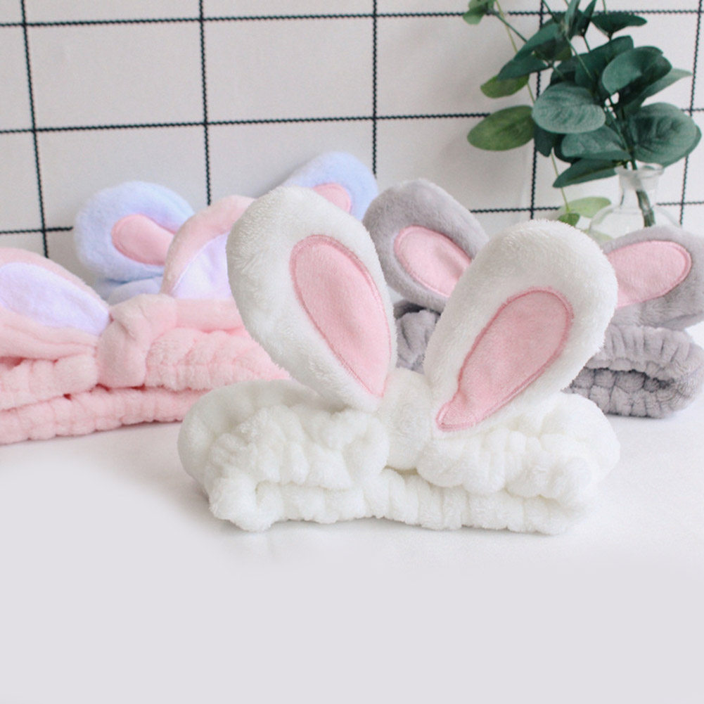 Lovely Flannel Soft Bunny Ear Make Up Headbands Women Velvet Hairbands