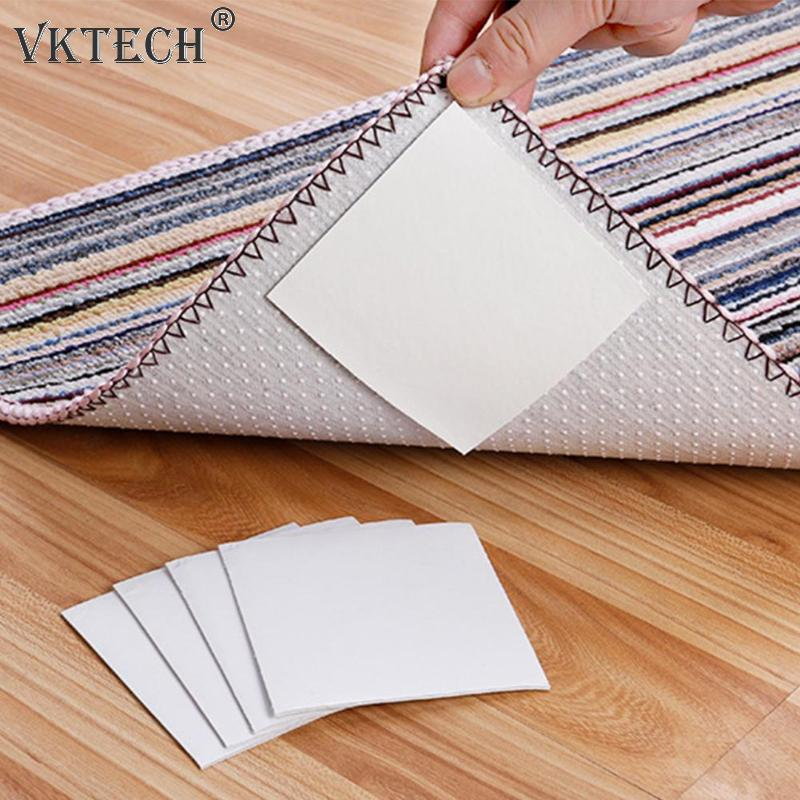 4pcs Fixed Carpet Super Viscous Double-sided Adhesive Anti-slip Strong Mat Tape Sticker Ground Non-woven Tape