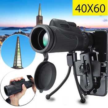 40X60 عدسة مجهر الهاتف الذكي أحادي تلسكوب نطاق الكاميرا التخييم التنزه الصيد مع الهاتف المحمول كليب ترايبود