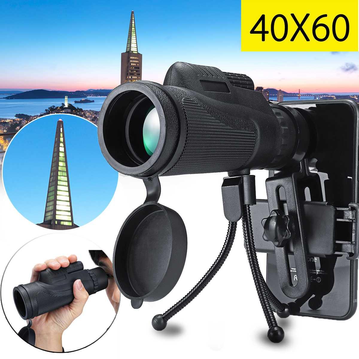 40X60 lente telescópica teléfono inteligente Monocular telescopio Cámara Camping senderismo pesca con trípode de Clip de teléfono móvil