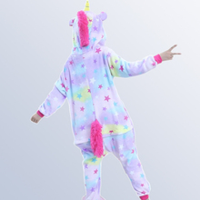 Купить с кэшбэком Stars Unicorn Pajamas For Boys Girls 4 6 8 10 12 Years Flannel Cartoon cosplay Children Sleepwear Cute Hooded Pijamas Onesies