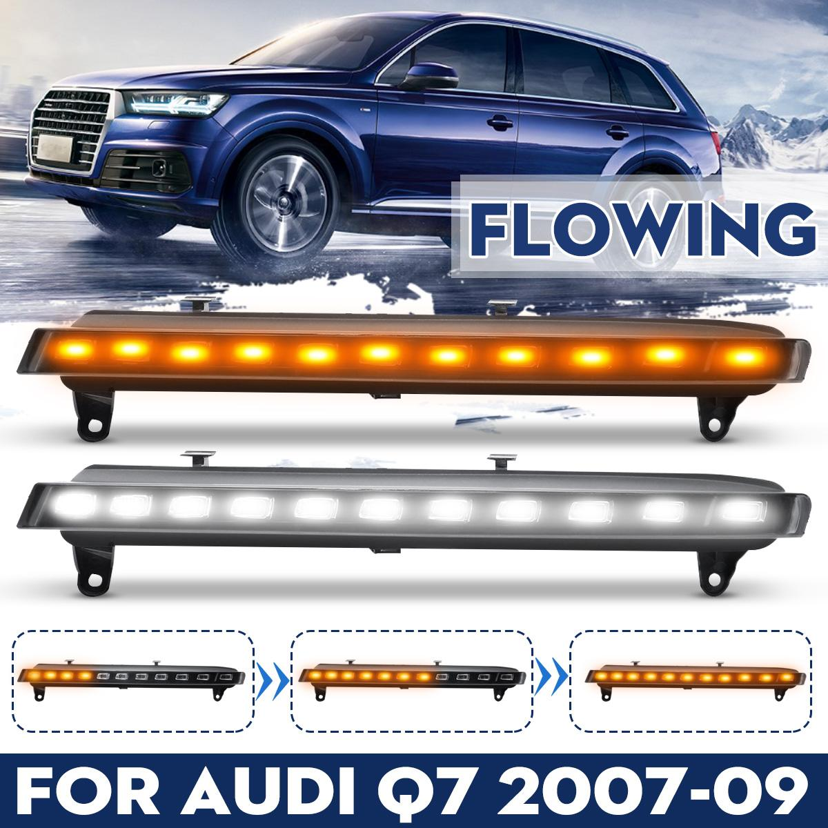 Pair For Audi Q7 2006 2007 2008 2009 Yellow Turn Signal Function Car DRL Waterproof 12V LED Daytime Running Light Fog Lamp BulbPair For Audi Q7 2006 2007 2008 2009 Yellow Turn Signal Function Car DRL Waterproof 12V LED Daytime Running Light Fog Lamp Bulb