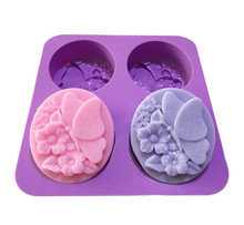 3D Butterfly silicone cake mold DIY Oval Soap Making Silicone Molds Flower Pattern