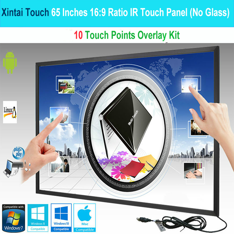 Xintai Touch 3PCS 65 Inches 10 Touch Points 16:9 Ratio IR Touch Frame Panel/Touch Screen Overlay Kit Plug & Play (NO Glass)-in Touch Screen Panels from Computer & Office    1