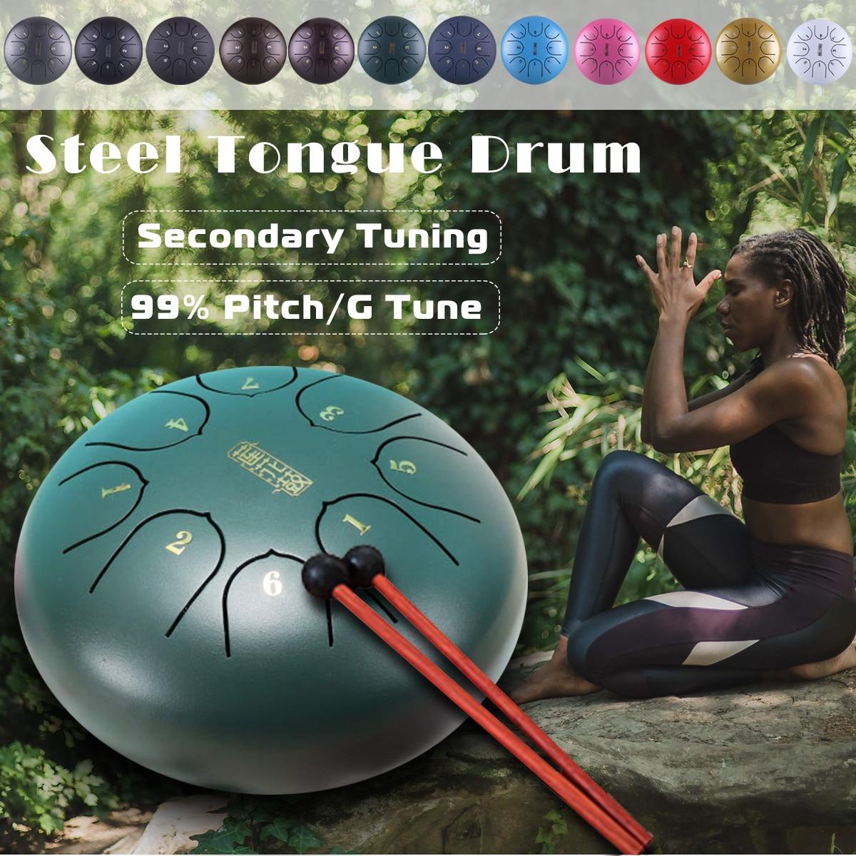 6 pouces En Acier Langue Tambour Mini 8 Ton G Tune Pan Main Tambour Réservoir Hang Drum avec Pilons Sac de Transport percussion Instruments