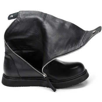 NEW Recommend!! Double Zip Chain Mid-calf Boots Men Leather Motorcycle Boots Fur Plush Snow Boots Warm Winter Shoes Man