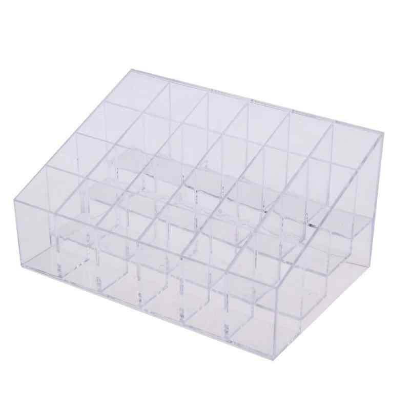 24 Grid Acrylic Makeup Organizer Storage Box Plastic Cosmetic Box Lipstick Jewelry Box Case Holder Stand Make Up Storage Holder