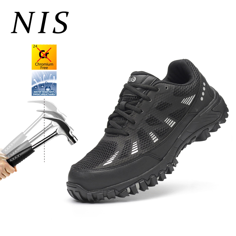 NIS Bulletproof Midsole Men Work Boots Safety Shoes Mens AtreGo Anti-smashing Steel Toe Shoes Casual Hiking Climbing Sneakers