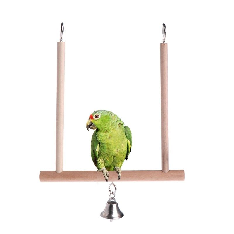 1PC Wooden Birds Cage Perch Cage Hanging Wood Birds Perch Parrot Toys Stand Holder Natural Wood Swing Pet Supplies