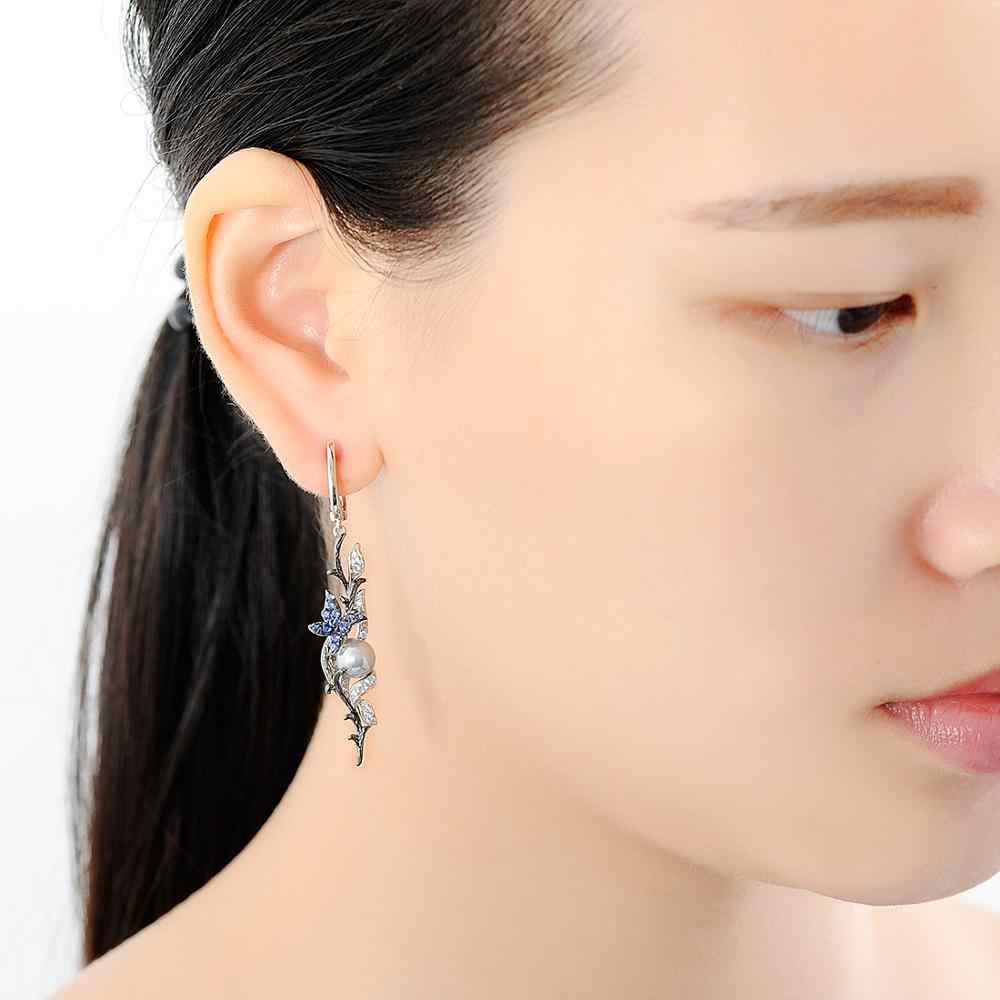 Santuzza brincos de prata para mulher 925 prata esterlina dangle brincos borboleta azul água doce branco pérola moda jóias