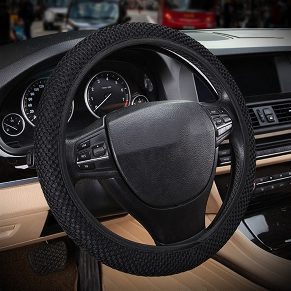 Four Seasons Car Steering Wheel Cover Breathable Sandwich Fabric Universal Steering Wheel Protector Car Styling Covers 38cm