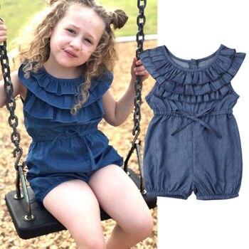 32e654867 Bebé niño niña Jeans mameluco Braga mono niños niñas bebé verano princesa  volantes Denim mono trajes ropa